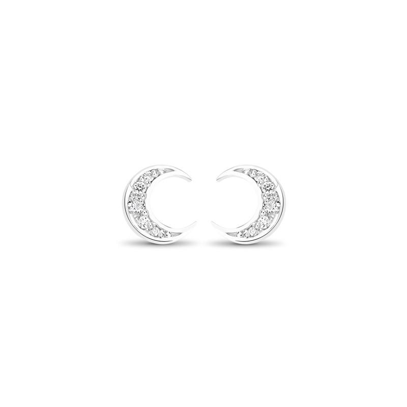 Boucles d'oreilles lune diamant
