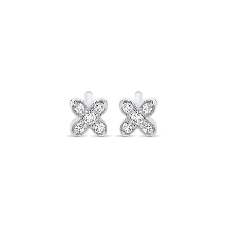 boucles d'oreilles trèfle diamants