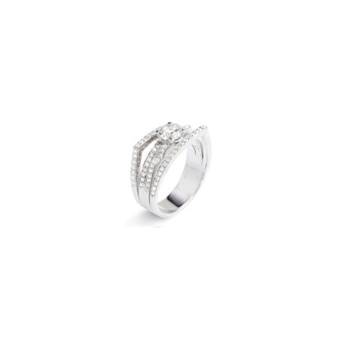 bague femme diamants or blanc